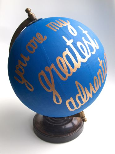Paint lettering on globe