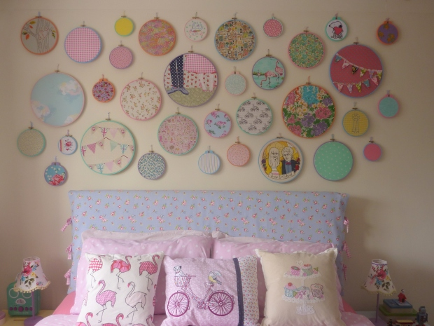 Embroidery hoop art wall