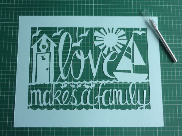 Finished paper cut