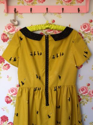 Handmade Emery dress in Cotton & Steel Zephyr - Citron Breeze (Metallic)