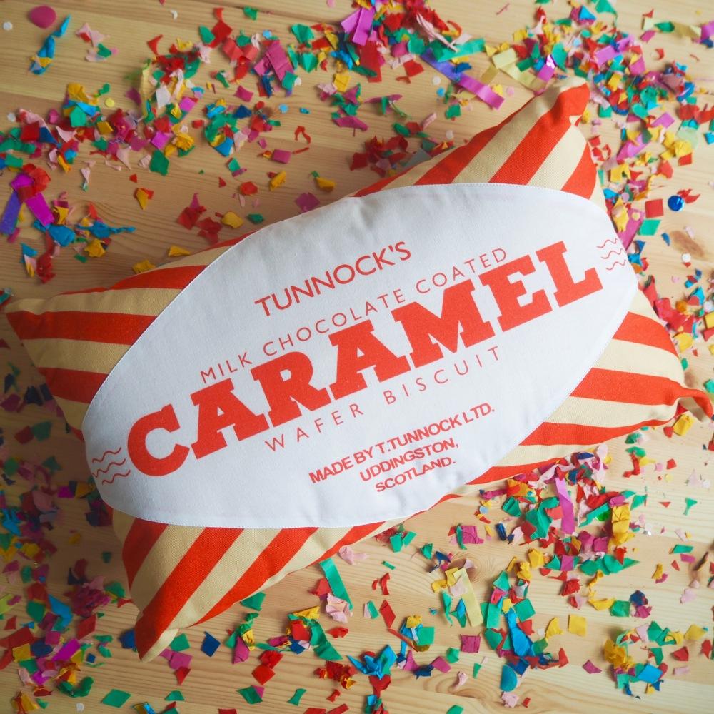 Tunnocks Caramel Wafer Cushion by Nikki McWilliams