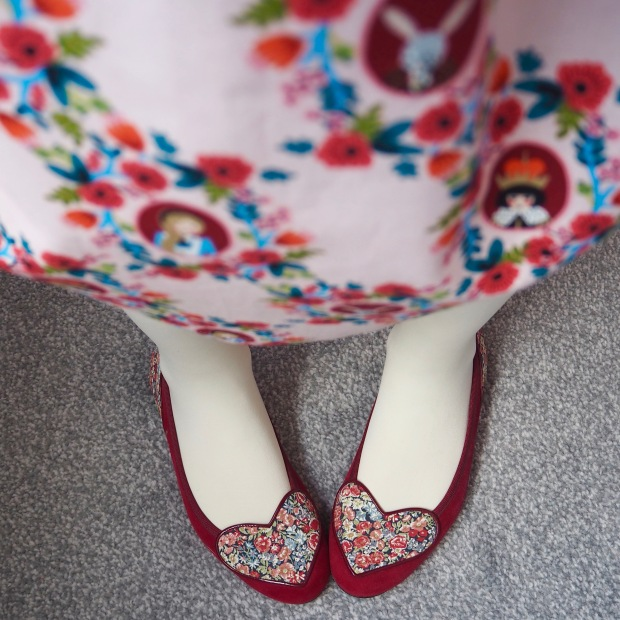 Liberty French Sole Ballet Pumps, Handmade Dress in Rifle Paper Co Wonderland Fabric for Cotton & Steel, Pink Roses, Alice in Wonderland