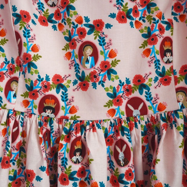 Handmade Dress in Rifle Paper Co Wonderland Fabric for Cotton & Steel, Pink Roses, Alice in Wonderland