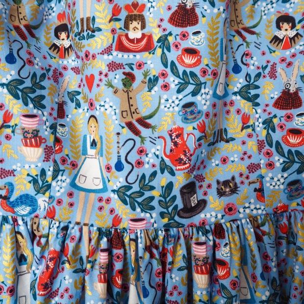 Handmade Christine Haynes Emery Dress in Rifle Paper Co Wonderland Fabric for Cotton & Steel, Periwinkle Blue, Alice in Wonderland