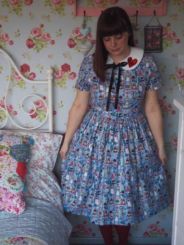 Handmade Christine Haynes Emery Dress in Rifle Paper Co Wonderland Fabric for Cotton & Steel, Periwinkle Blue, Alice in Wonderland
